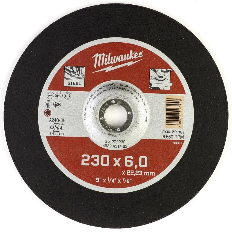 Шлифовальный диск по металлу SG 27 230х6х22 мм MILWAUKEE 4932451483