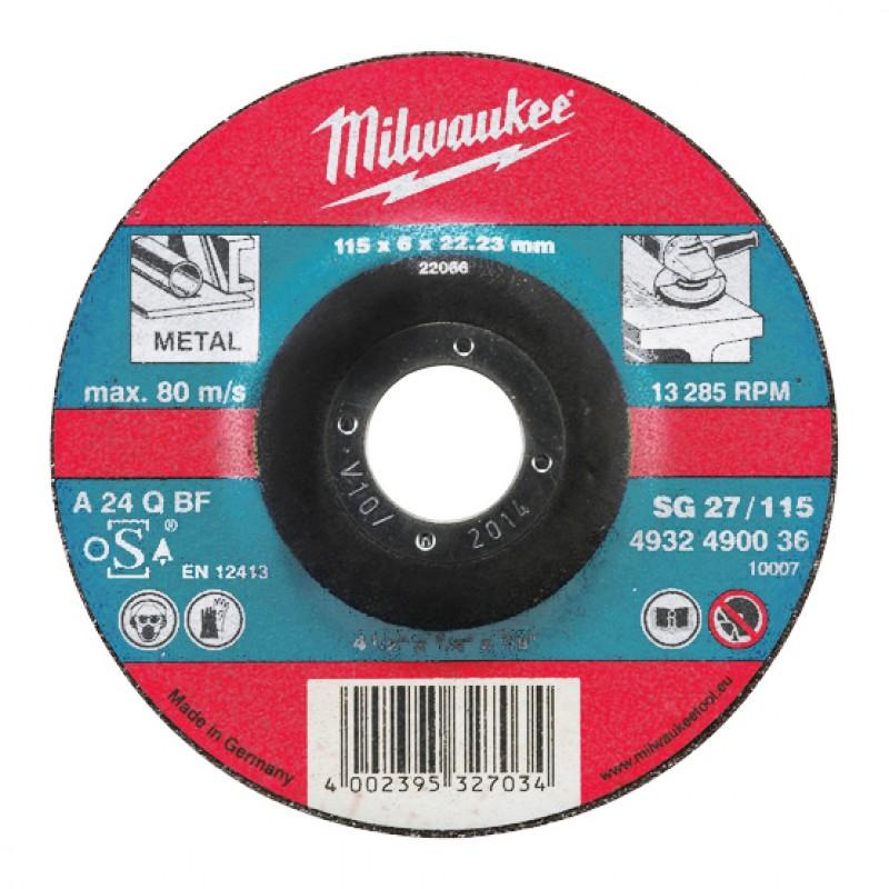 Шлифовальные диски по металлу 180х6 мм SG 27 MILWAUKEE 4932490100