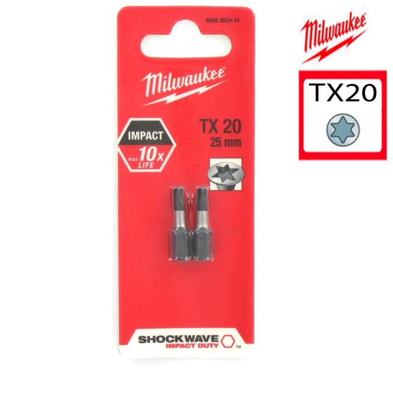 Биты для шуруповерта TX20 25 мм Shockwave MILWAUKEE 4932352441