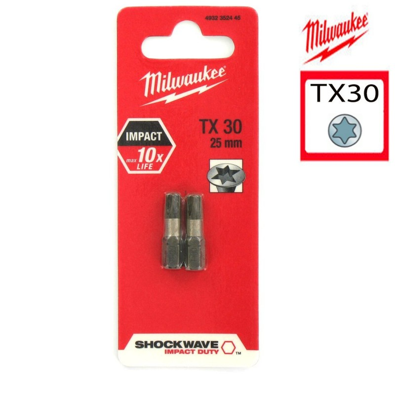 Биты для шуруповерта TX30 25 мм Shockwave MILWAUKEE 4932352445