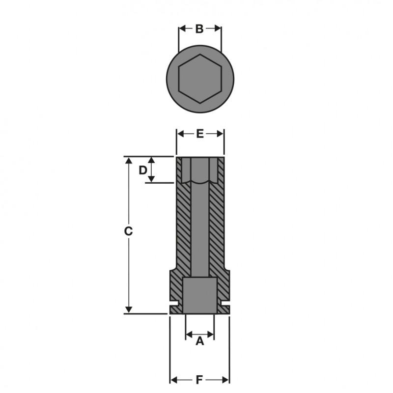 Головка ударная удлиненная ShW 1″, диаметр 55 мм MILWAUKEE 4932471671