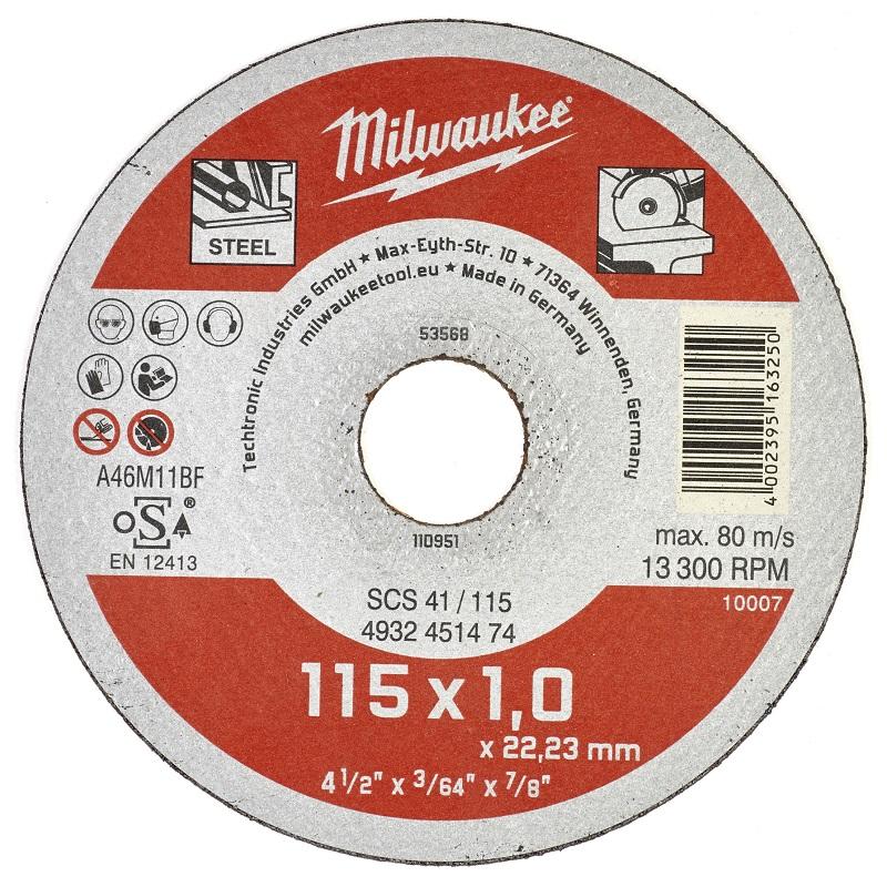 Отрезной диск по металлу 115х1,0 ММ SCS41 MILWAUKEE 4932451474