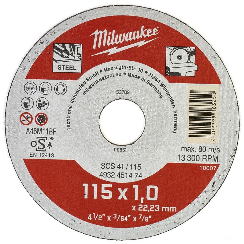 Отрезные круги по металлу 115х1,0 ММ SCS 41 200 шт MILWAUKEE 4932451475