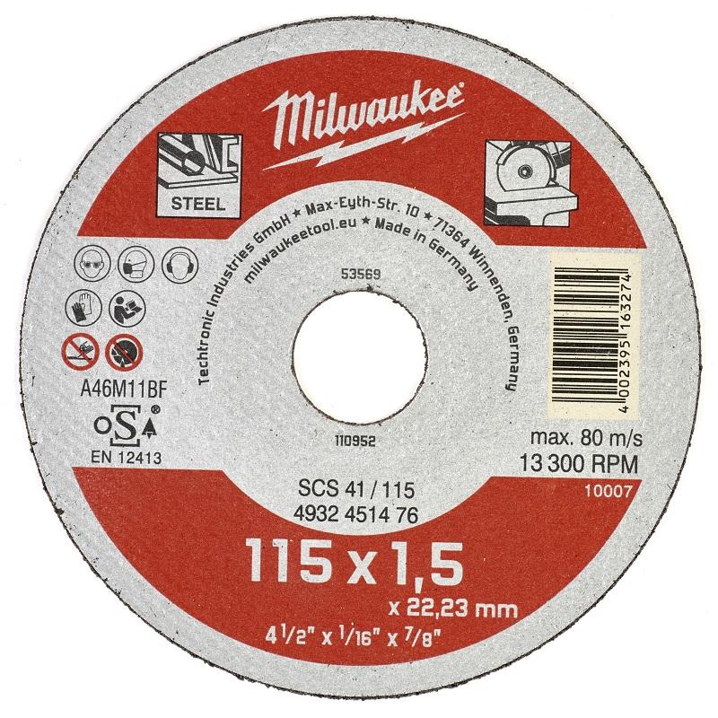 Отрезной диск по металлу 115х1,5 ММ SCS 41 MILWAUKEE 4932451476