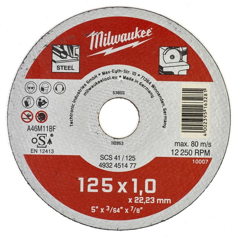Отрезные диски по металлу 125x1,0 ММ SCS 41 200 шт MILWAUKEE 4932451478