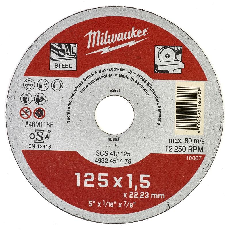 Отрезной диск по металлу 125х1,5 ММ SCS41 MILWAUKEE 4932451479