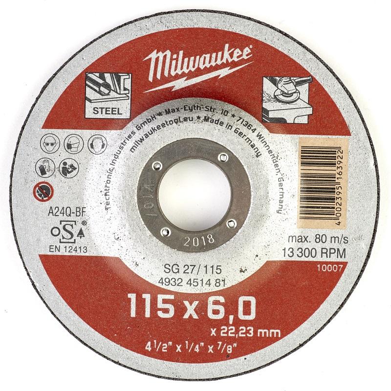 Шлифовальный диск по металлу SG 27 115х6х22 мм MILWAUKEE 4932451481