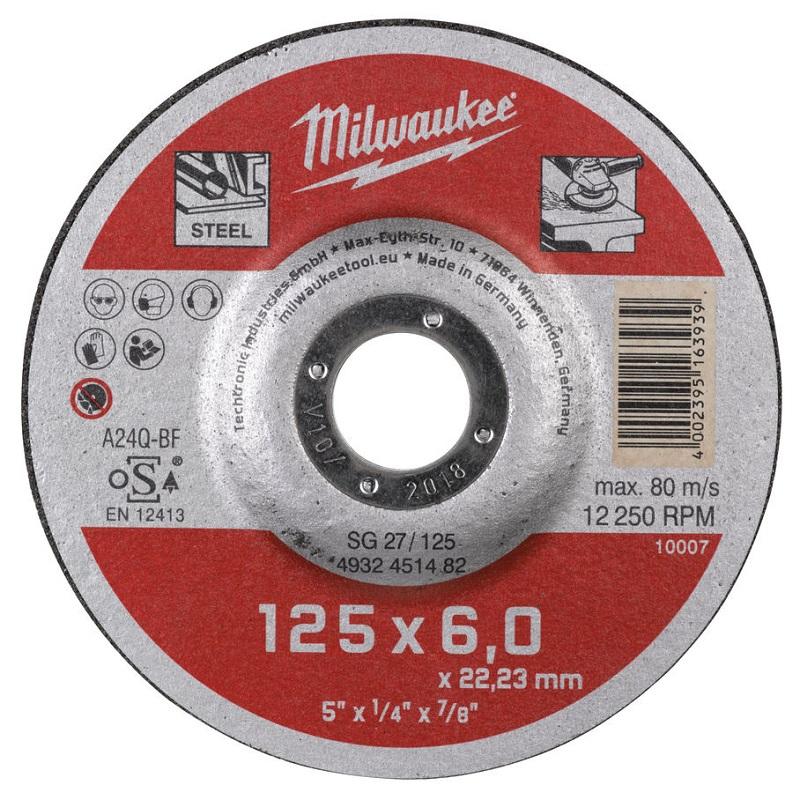 Шлифовальный диск по металлу SG 27 125х6х22 мм MILWAUKEE 4932451482