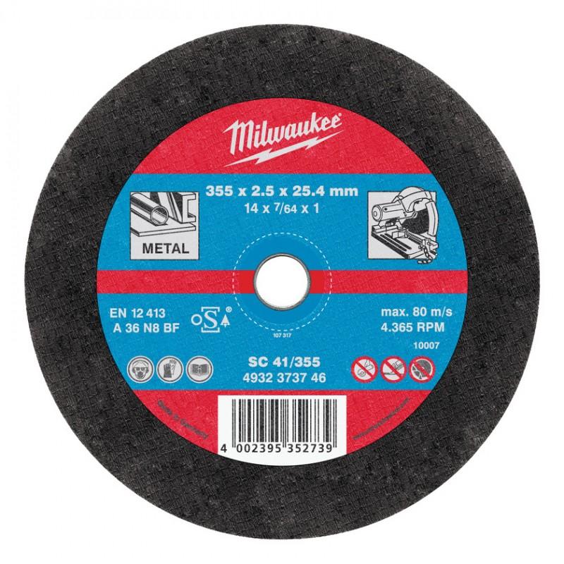 Отрезные диски по металлу для отрезной пилы 355х2.5х25.4 ММ SCS 41 10 шт MILWAUKEE 4932373734
