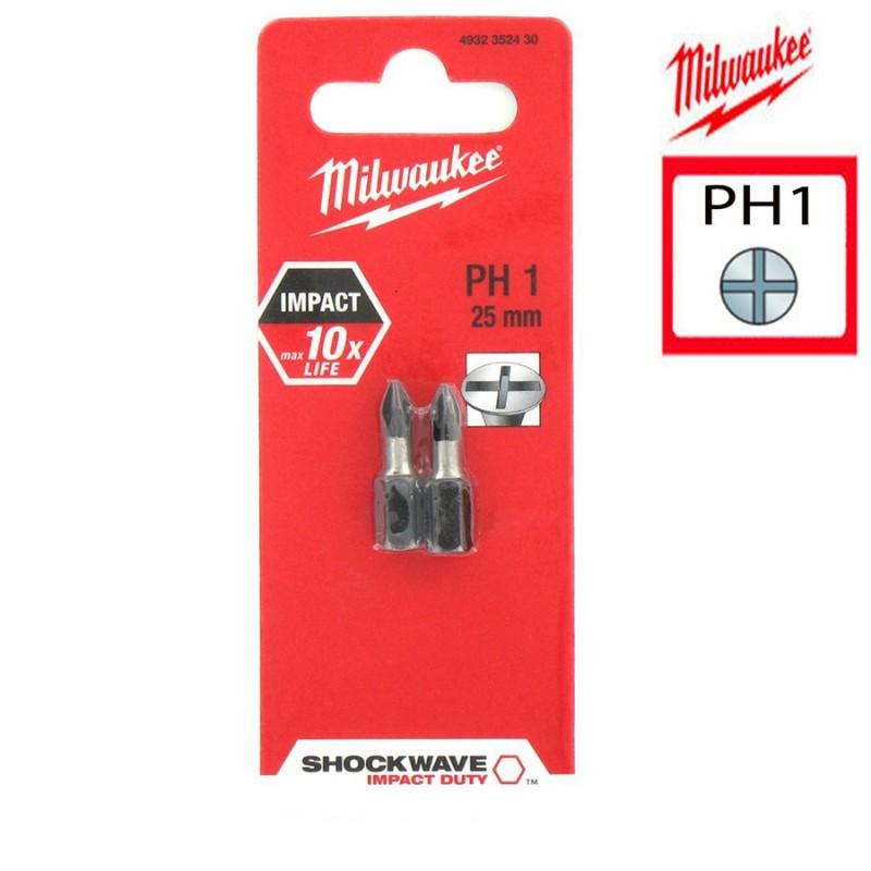 Биты для шуруповерта PH1 Shockwave 25 мм MILWAUKEE 4932352430