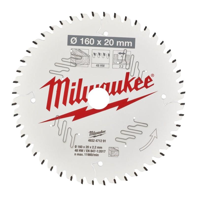 Диск для аккумуляторной циркулярной пилы  CSB P W 160 x 20 x 2,2 x 48ATB MILWAUKEE 4932471291