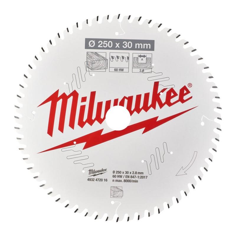 Диск для торцовочной пилы CSB MS W 250x30x2,8x60 ATB MILWAUKEE 4932472016