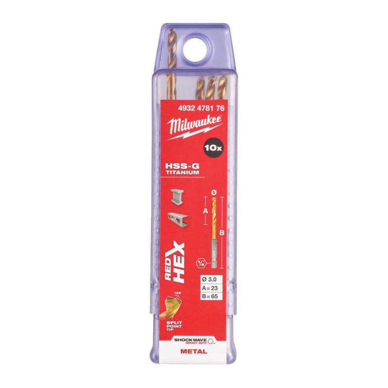 Сверло по металлу MILWAUKEE HSS-G TIN RED HEX ⌀3,0 ММ (упаковка 10шт.) 4932478176
