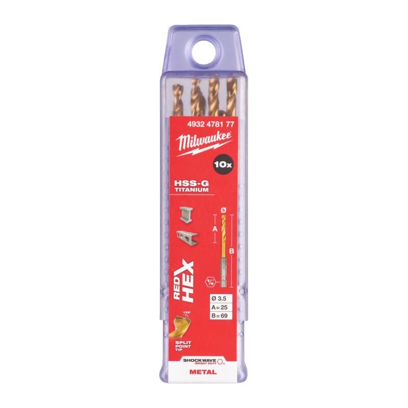 Сверло по металлу MILWAUKEE HSS-G TIN RED HEX ⌀3,5 ММ (упаковка 10шт.) 4932478177