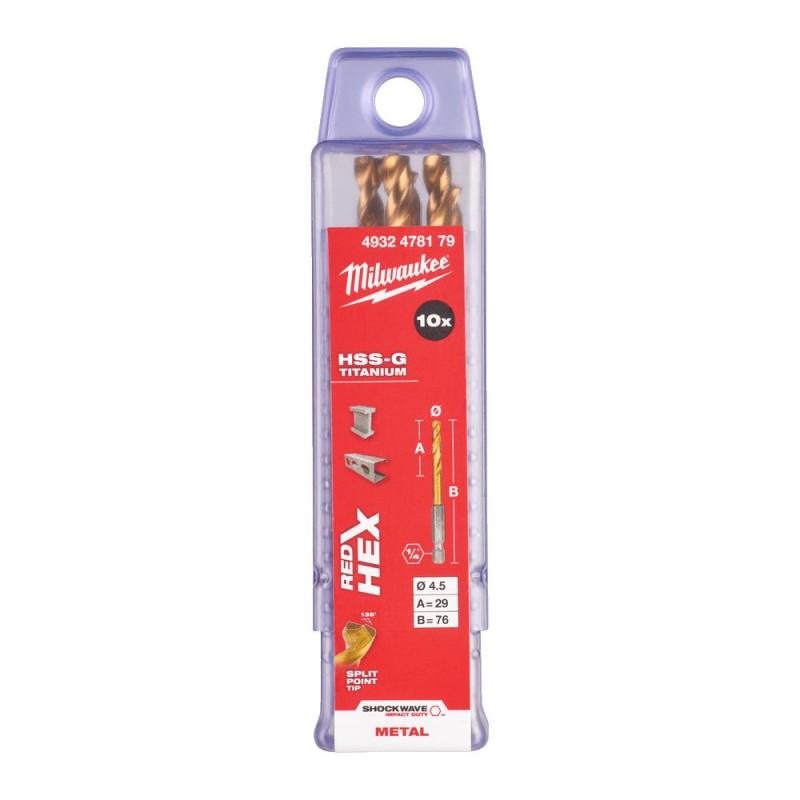 Сверло по металлу MILWAUKEE HSS-G TIN RED HEX ⌀4,5 ММ (упаковка 10шт.) 4932478179