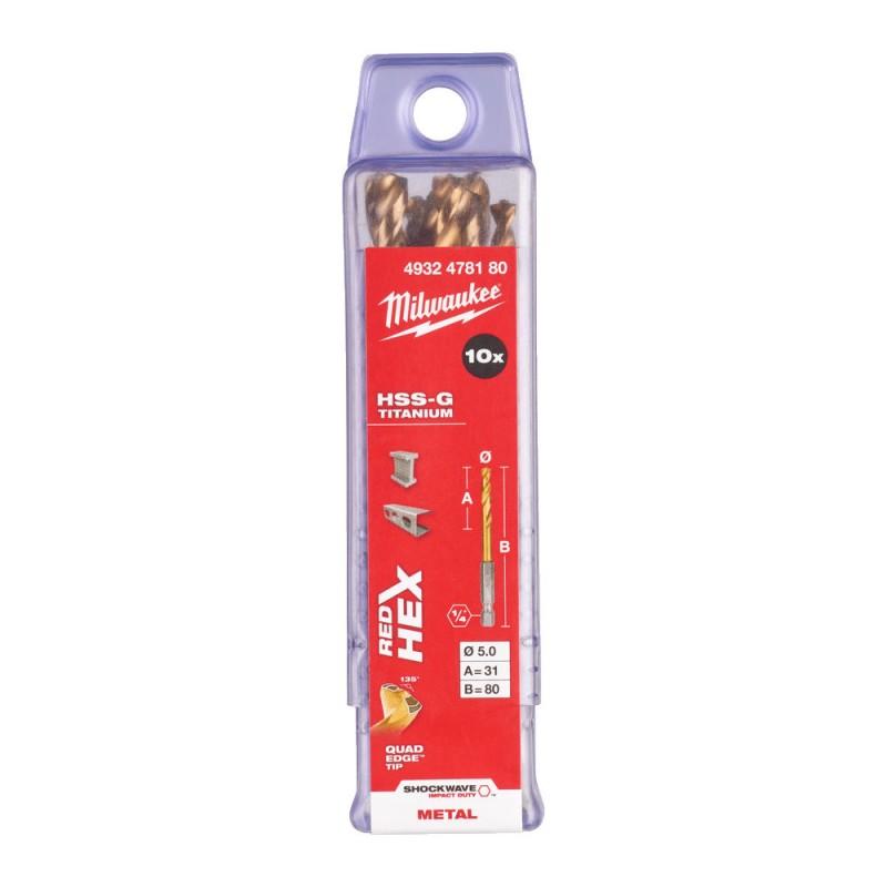Сверло по металлу MILWAUKEE HSS-G TIN RED HEX ⌀5,0 ММ (упаковка 10шт.) 4932478180