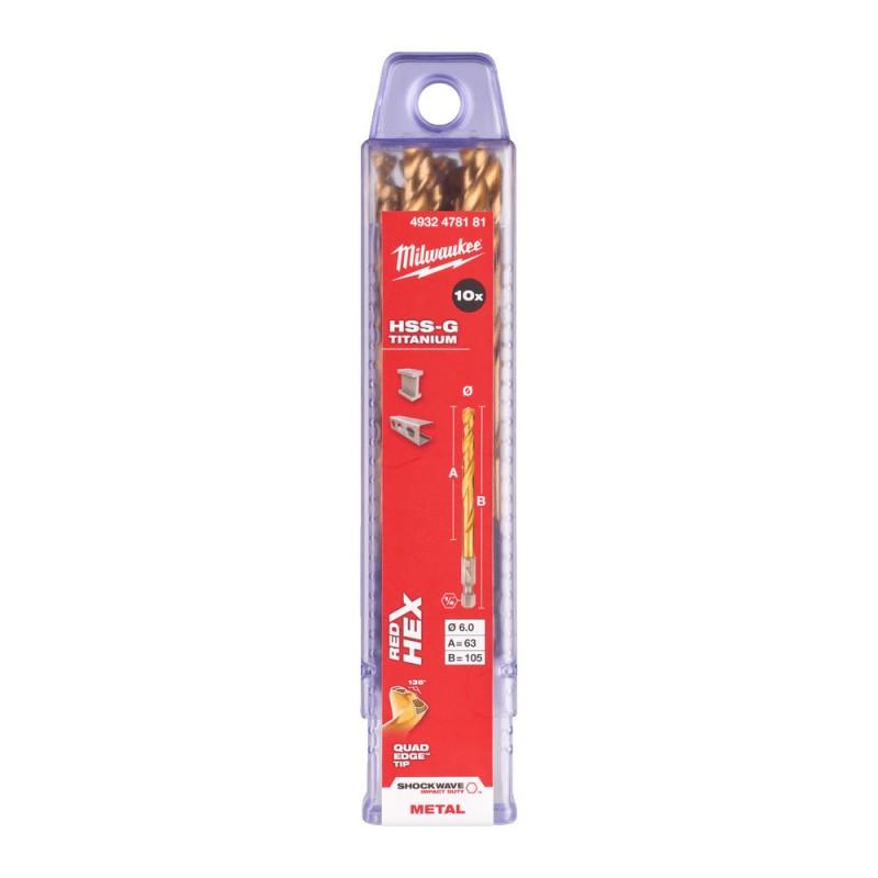 Сверло по металлу MILWAUKEE HSS-G TIN RED HEX ⌀6,0 ММ (упаковка 10шт.) 4932478181