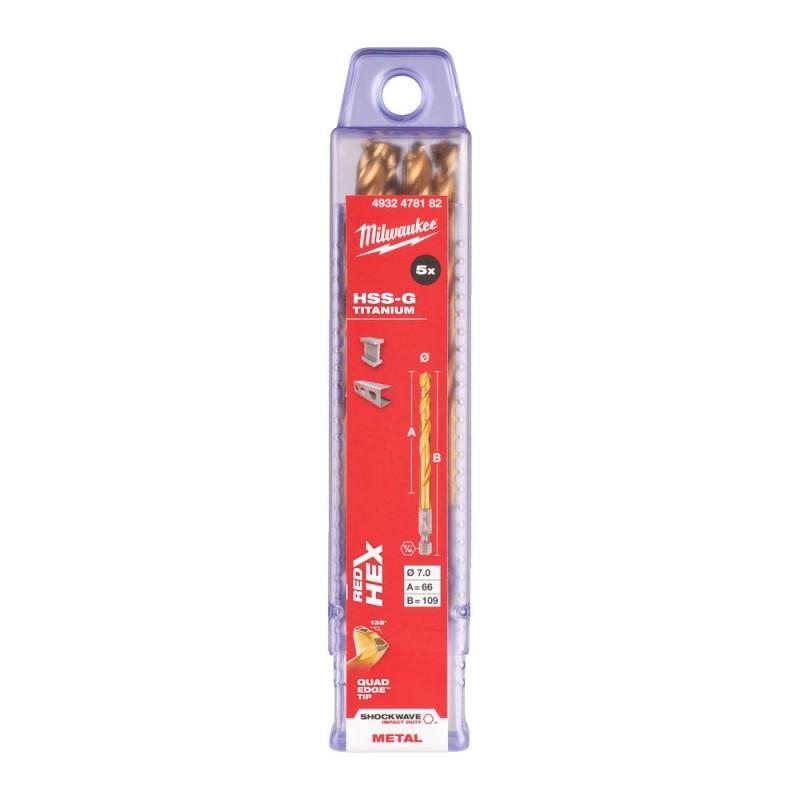 Сверло по металлу MILWAUKEE HSS-G TIN RED HEX ⌀7,0 ММ (упаковка 5шт.) 4932478182