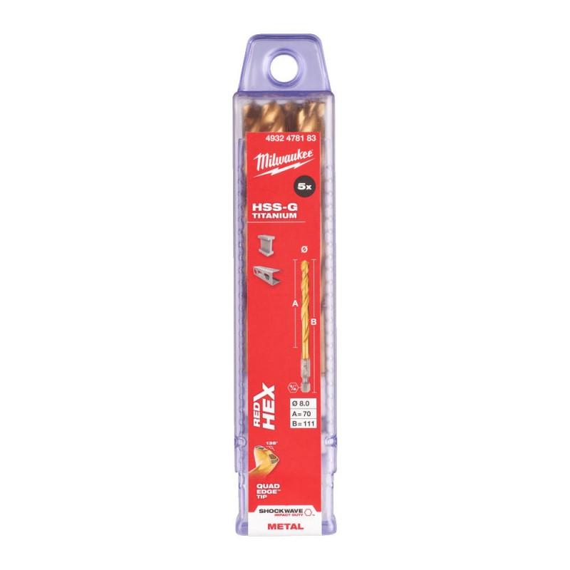Сверло по металлу MILWAUKEE HSS-G TIN RED HEX ⌀8,0 ММ (упаковка 5шт.) 4932478183