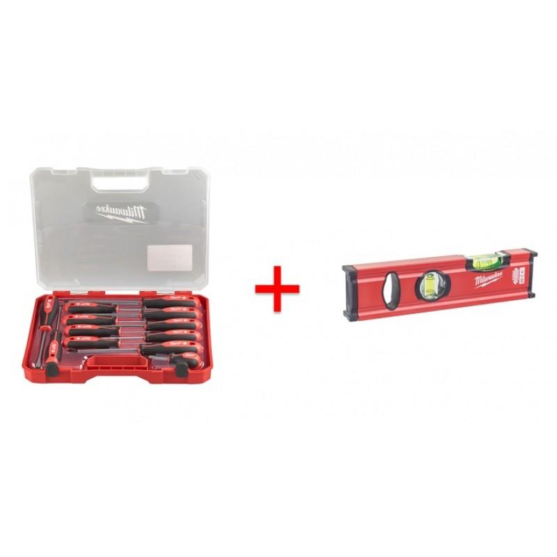 Набор отверток магнитных с трехгранной рукояткой в пластиковом кейсе (12шт) + Уровень Milaukee Slim 20 см