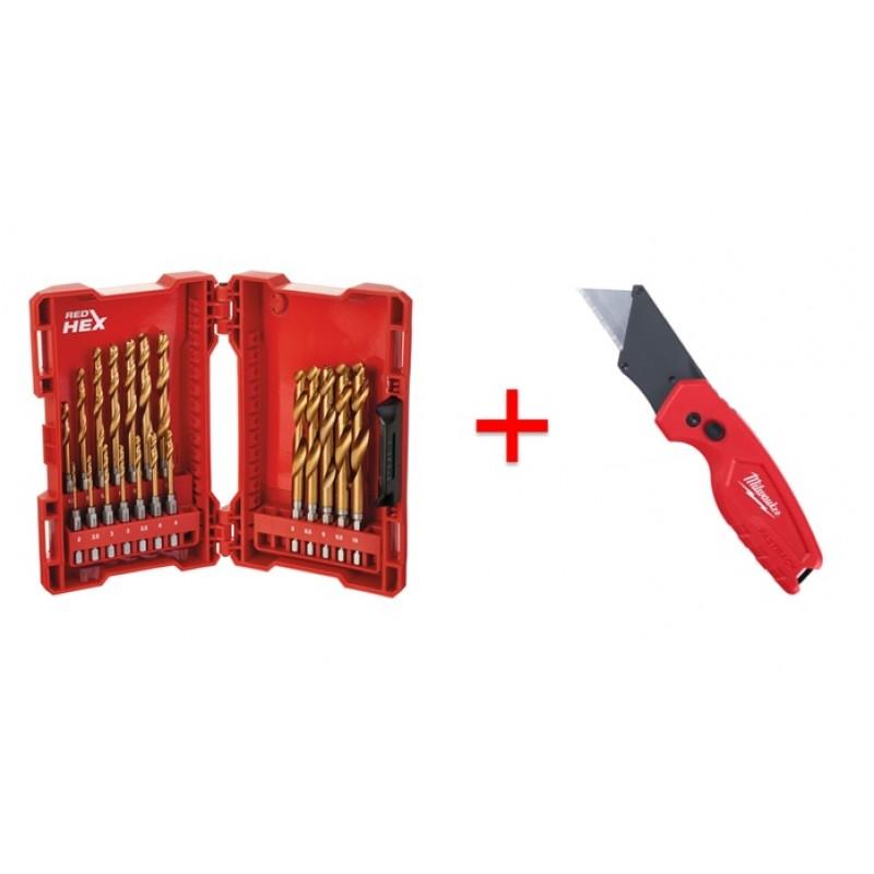 Набор сверл RedHEX HSS-G TiN (19шт) + Нож м/ф складной компактный
